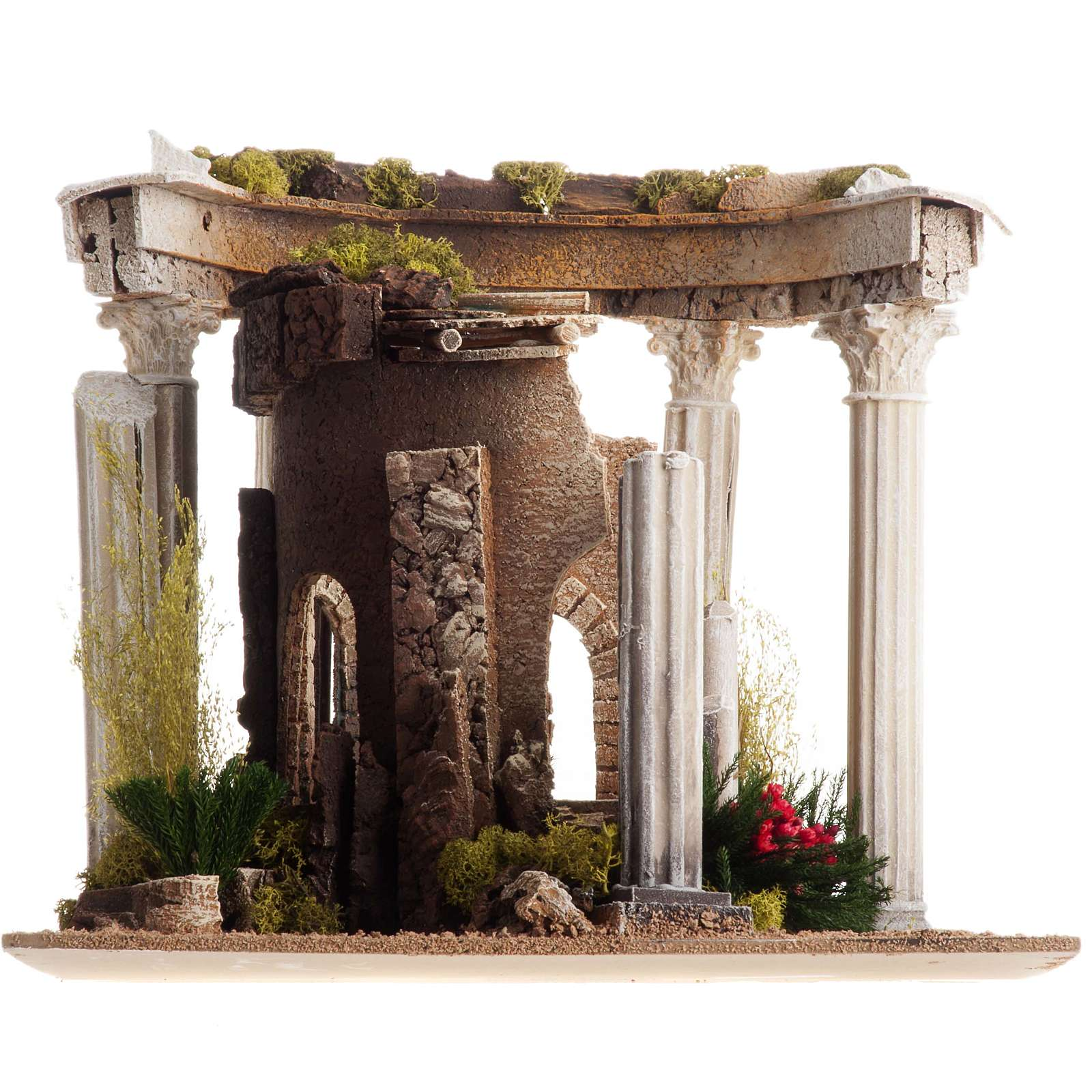 Nativity setting, Roman temple with columns and house 4