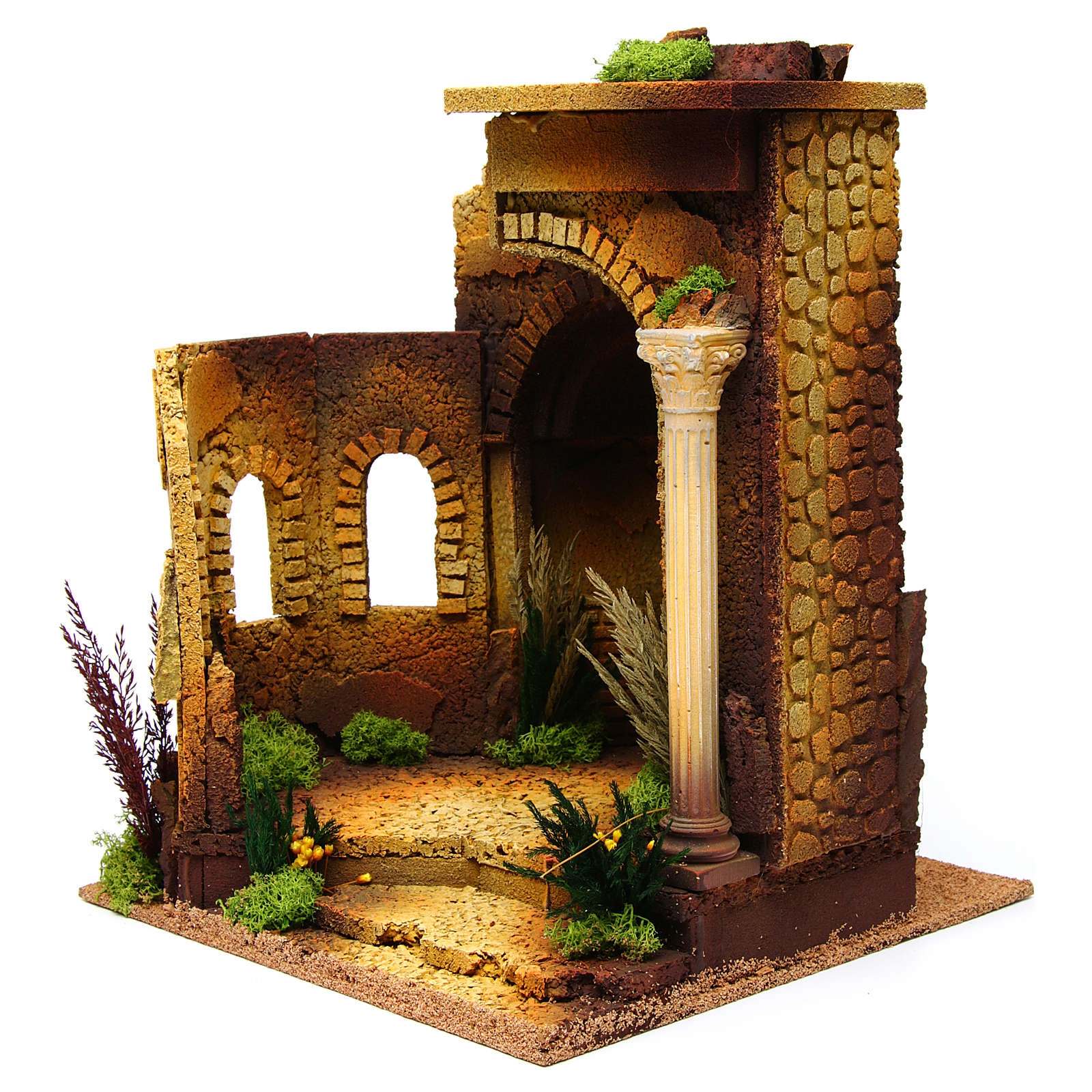 Nativity setting, Roman temple, antique style with arch 4