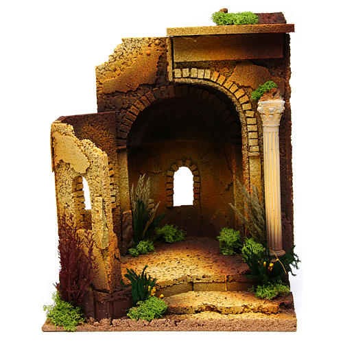Nativity setting, Roman temple, antique style with arch 1