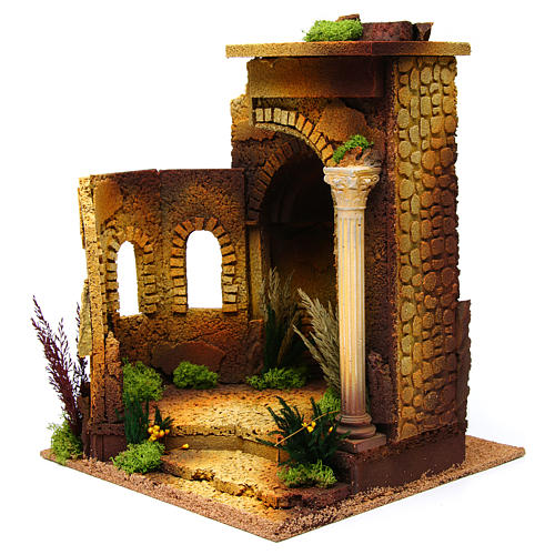 Nativity setting, Roman temple, antique style with arch 2