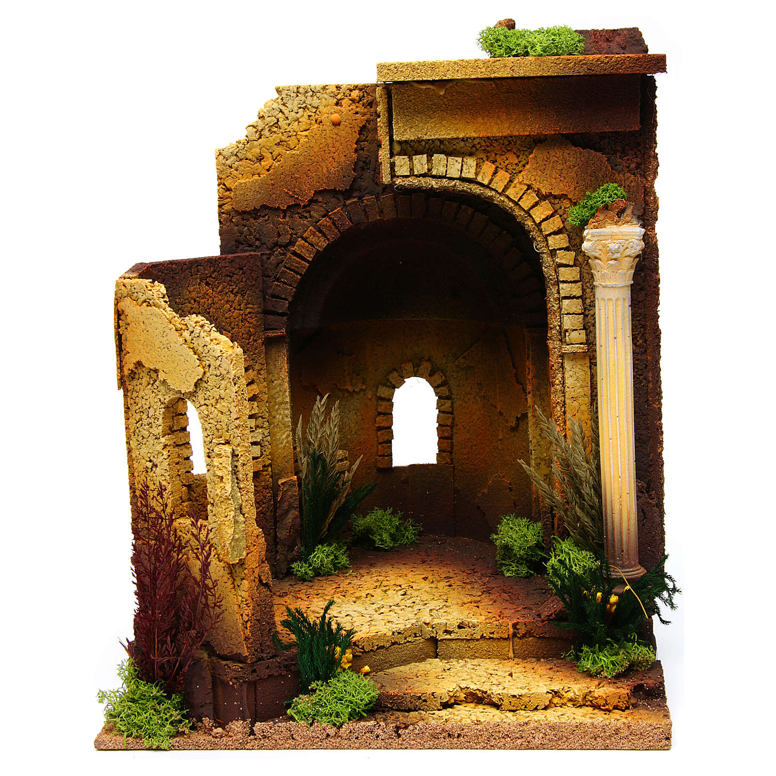 Temple romano estilo antiguo con arco, belén 4