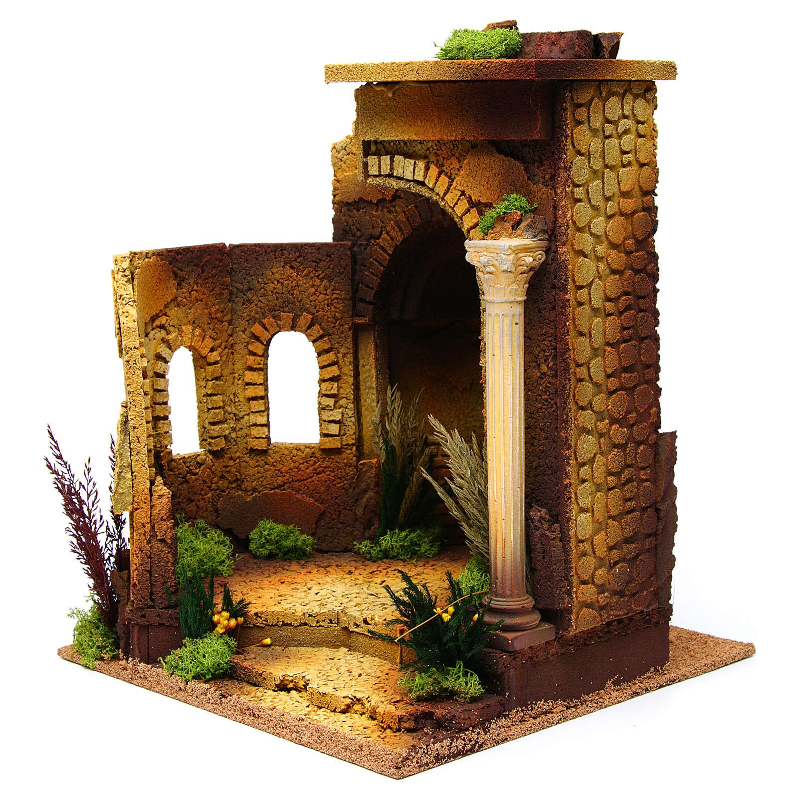 Tempio romano stile antico con arco, per presepe 4