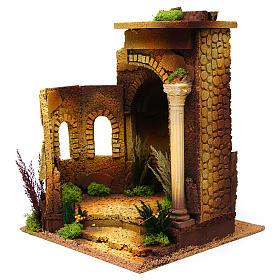 Tempio romano stile antico con arco, per presepe s2