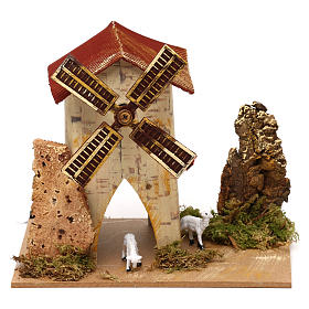 Nativity accessory, electric windmill with sheeps s5