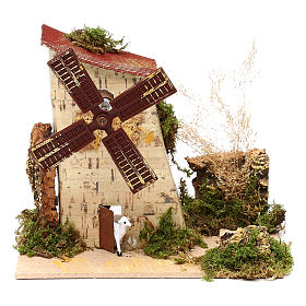 Nativity accessory, electric windmill with sheeps s6
