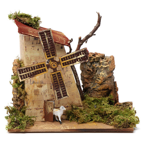 Nativity accessory, electric windmill with sheeps 1