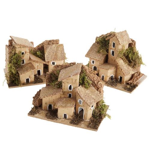 Maisonnette en bois pour crèche noël toit en liège 1