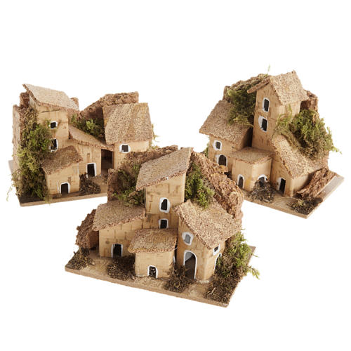 Nativity setting, house in wood with cork roof 1