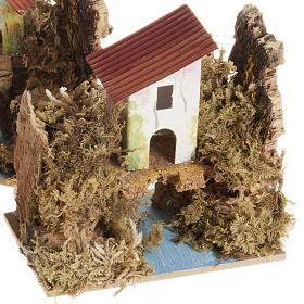 Nativity setting, house in wood on river, assorted models s2
