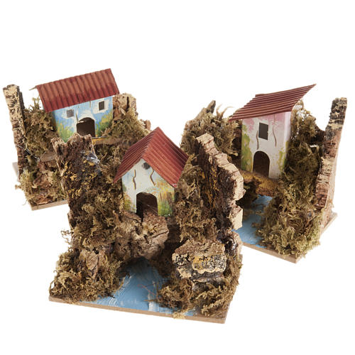 Nativity setting, house in wood on river, assorted models 1