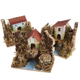 Nativity setting, house in wood on river, assorted models s1