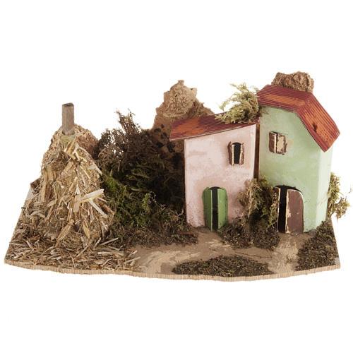 Maison décor crèche en bois avec grange 1