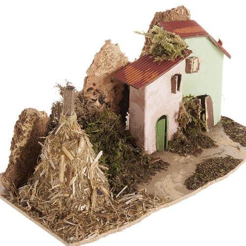 Maison décor crèche en bois avec grange 2