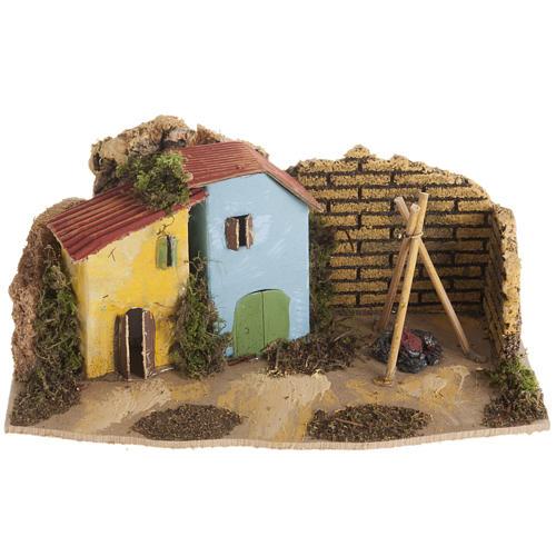 Maison décor crèche en bois avec feu 1