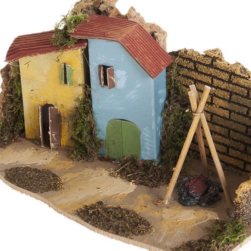 Maison décor crèche en bois avec feu 2