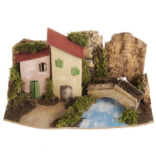 Maison décor crèche en bois avec pont 1