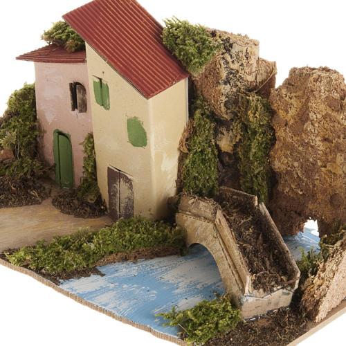 Maison décor crèche en bois avec pont 2