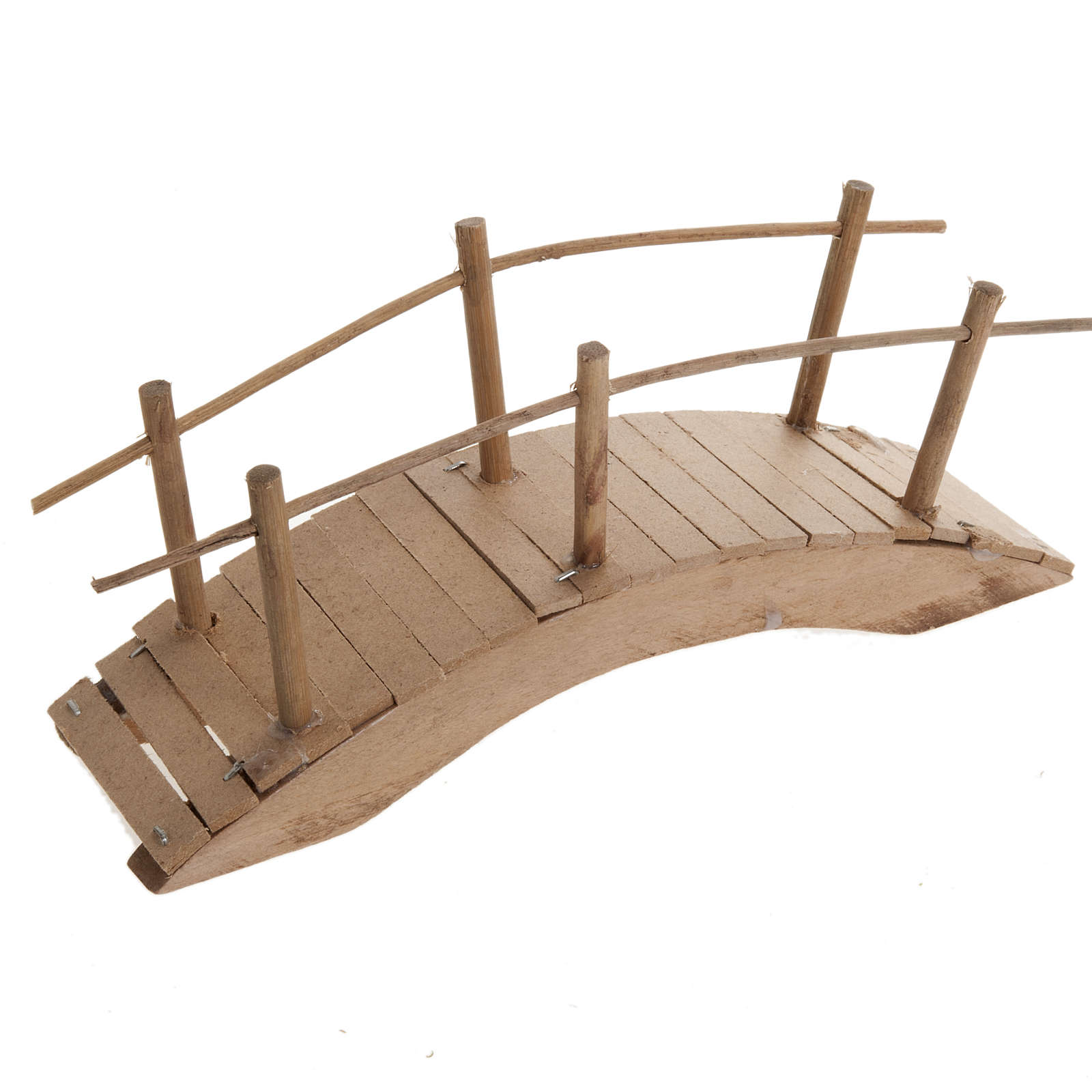 Nativity set accessory, wooden bridge with handrail 20x6 4