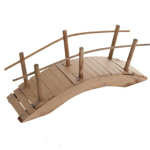 Nativity set accessory, wooden bridge with handrail 20x6 1