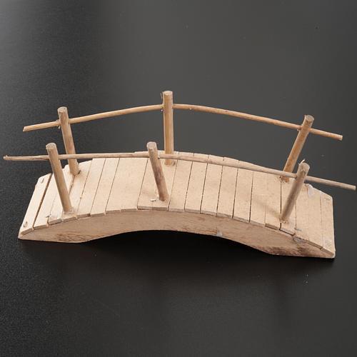 Nativity set accessory, wooden bridge with handrail 20x6 2