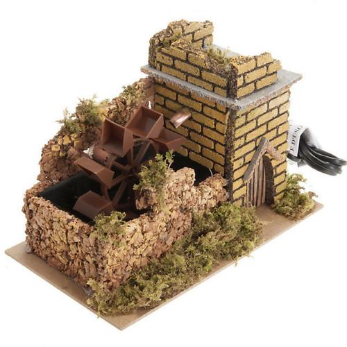 Mini moulin à eau avec pompe crèche Noel 17x25x15 1
