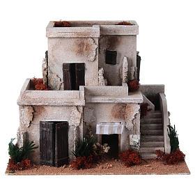 Settings, houses, workshops, wells: Nativity setting, illuminated minaret with stairs