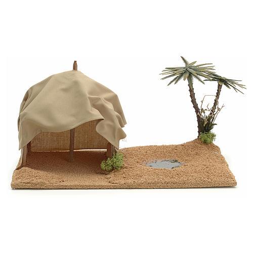 Oasi con tenda: ambientazione presepe 1