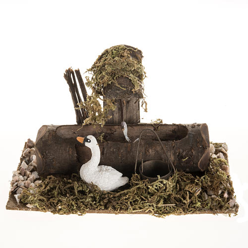 Nativity setting, fake fountain with swan 1