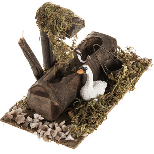 Nativity setting, fake fountain with swan 2