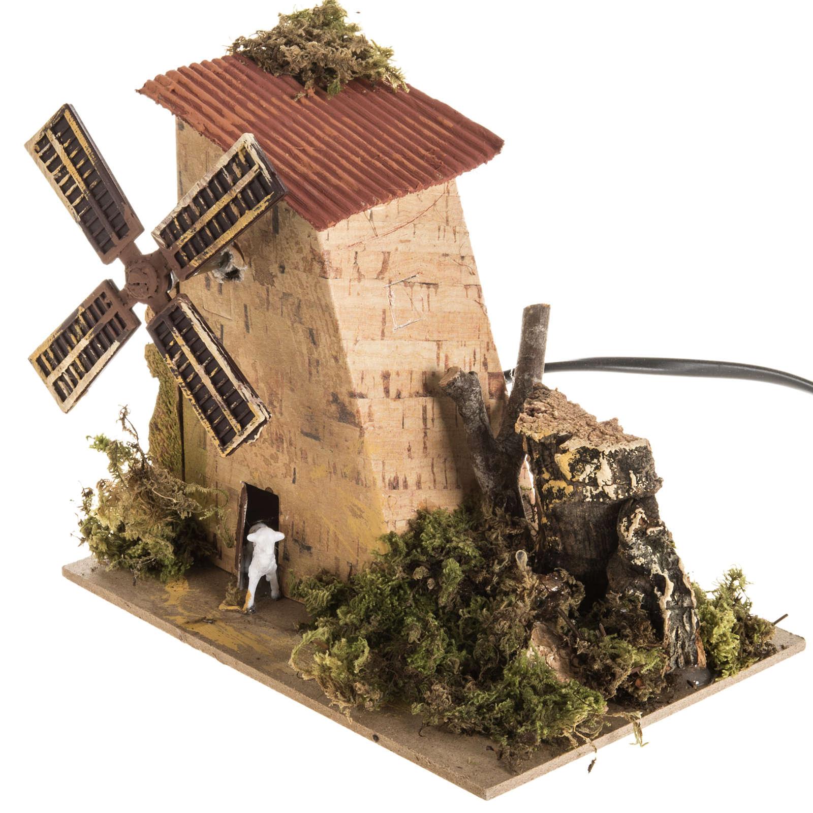 Moulin à vent et moutons crèche Noel 1,5W 10t/m 4