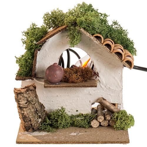 Electric oven for nativities, with flame effect light 1