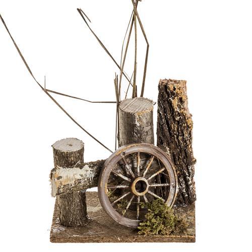 Ambientazione presepe tronchi e ruota carro 1
