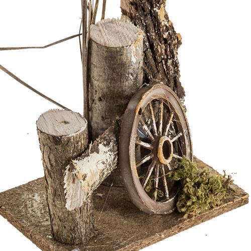 Ambientazione presepe tronchi e ruota carro 2