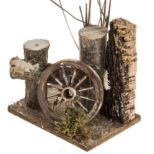 Ambientazione presepe tronchi e ruota carro 3