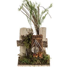 Milieu crèche Noel avec troncs et balance s1