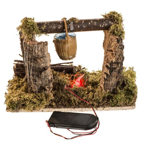 Nativity setting with battery LED fire and bucket 2