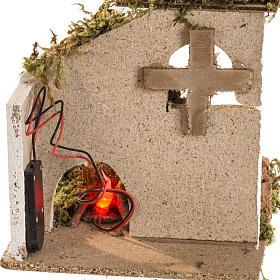 Fuoco led presepe batteria con ambientazione s4