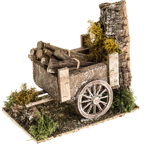 Nativity setting with wood cart 1