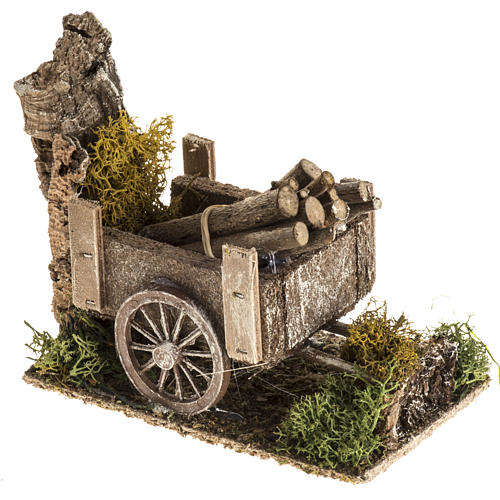 Nativity setting with wood cart 2