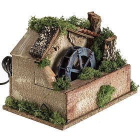 Nativity setting, electric water mill 18x24x18cm s2