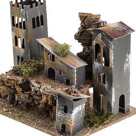 Borgo cartone con torre: ambiente presepe s3