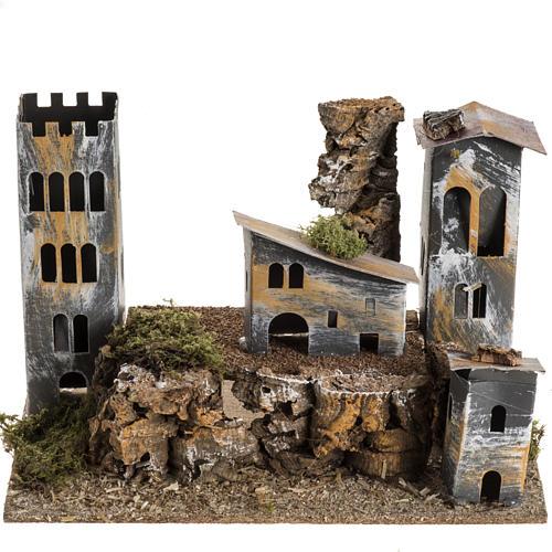 Borgo cartone con torre: ambiente presepe 1