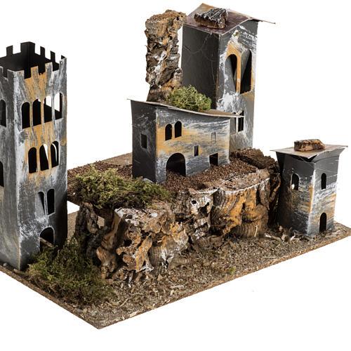 Borgo cartone con torre: ambiente presepe 2