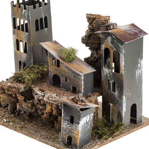 Borgo cartone con torre: ambiente presepe 3