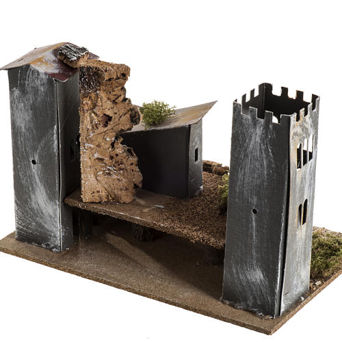 Borgo cartone con torre: ambiente presepe 5