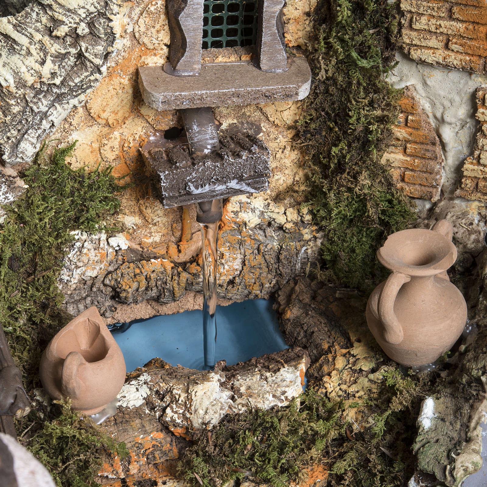 Capanna presepe 80x110x70 cm borgo e fontana 4