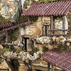 Capanna presepe 80x110x70 cm borgo e fontana s15
