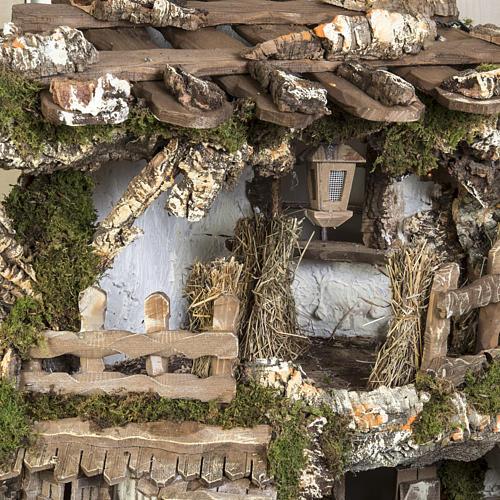 Capanna presepe 80x110x70 cm borgo e fontana 3