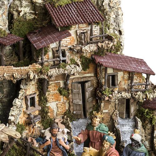 Capanna presepe 80x110x70 cm borgo e fontana 6