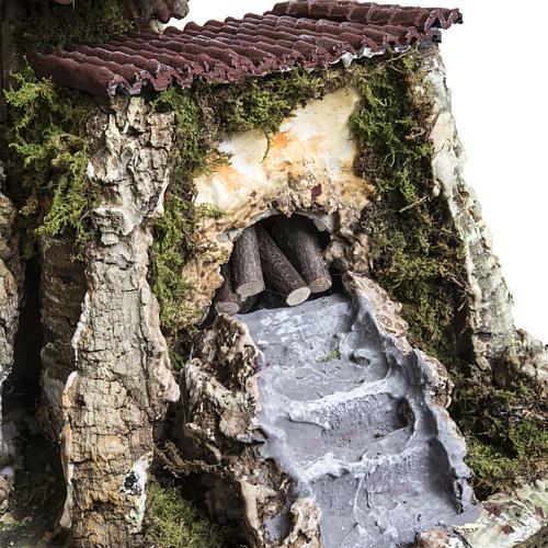Capanna presepe 80x110x70 cm borgo e fontana 7